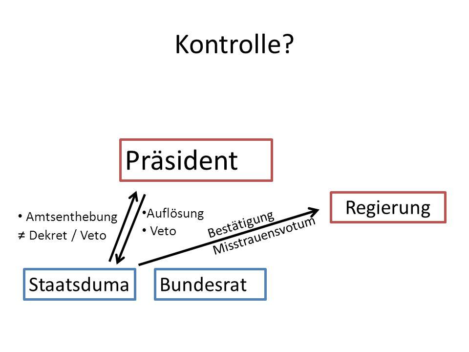 Präsident Kontrolle Regierung Staatsduma Bundesrat ≠ Dekret / Veto