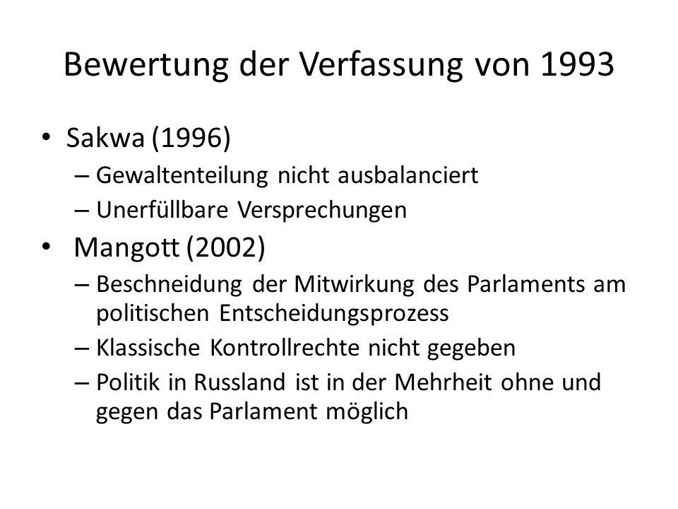 Bewertung der Verfassung von 1993