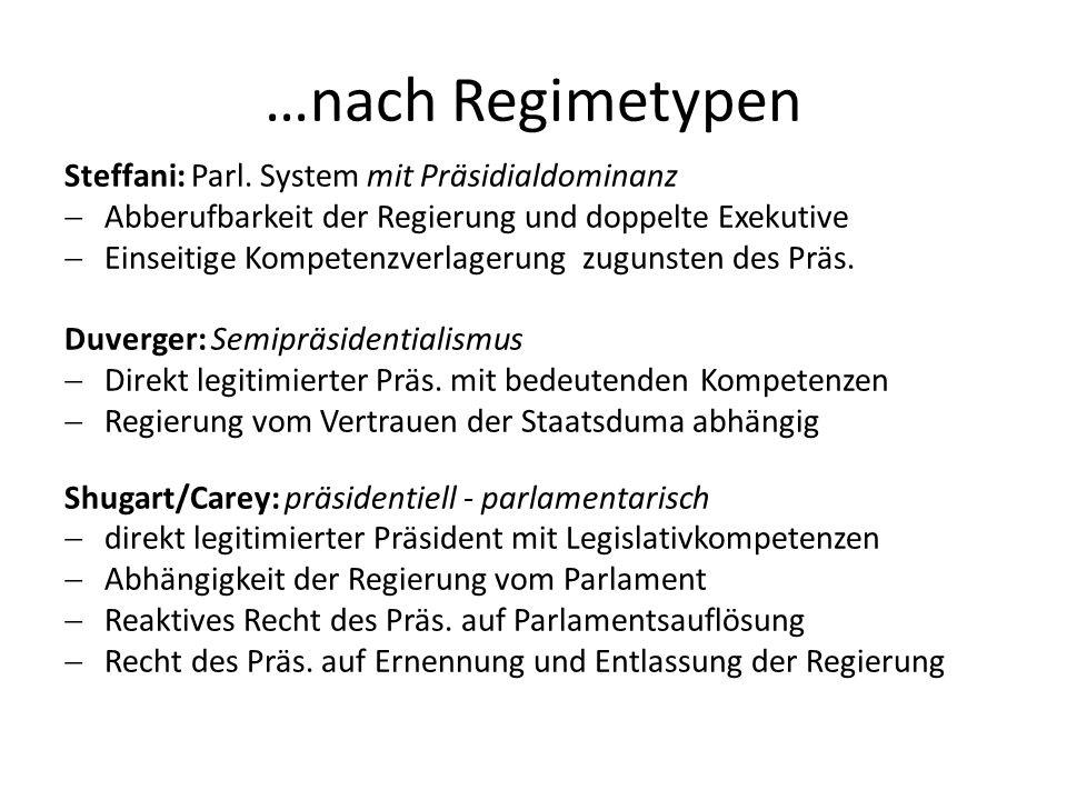 …nach Regimetypen Steffani: Parl. System mit Präsidialdominanz
