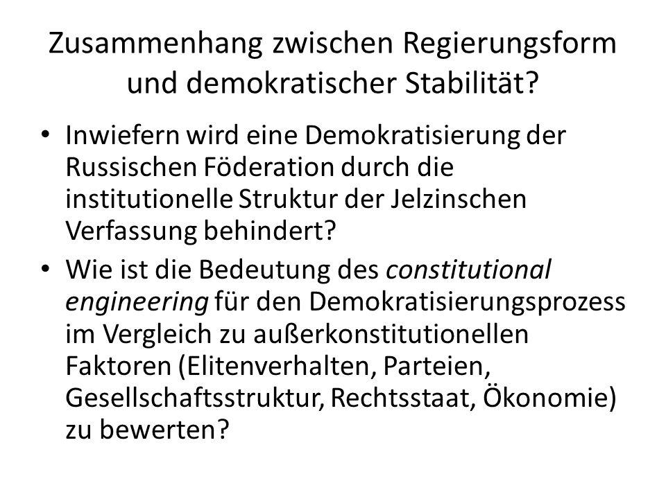 Zusammenhang zwischen Regierungsform und demokratischer Stabilität