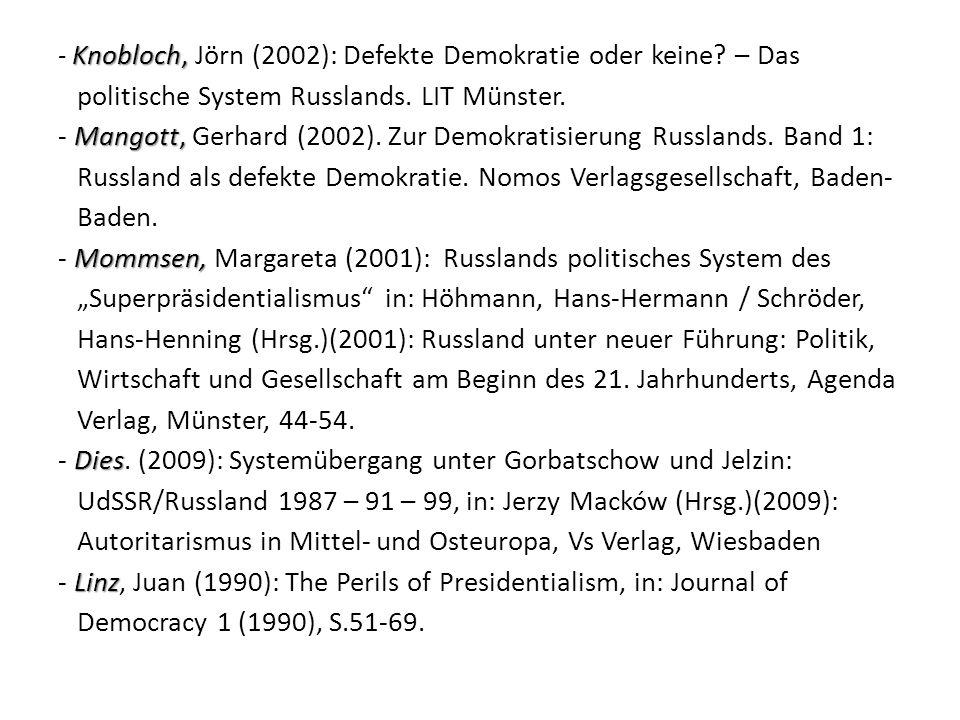 - Knobloch, Jörn (2002): Defekte Demokratie oder keine. – Das