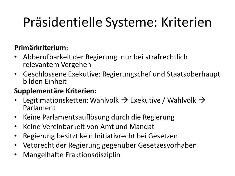 Präsidentielle Systeme: Kriterien