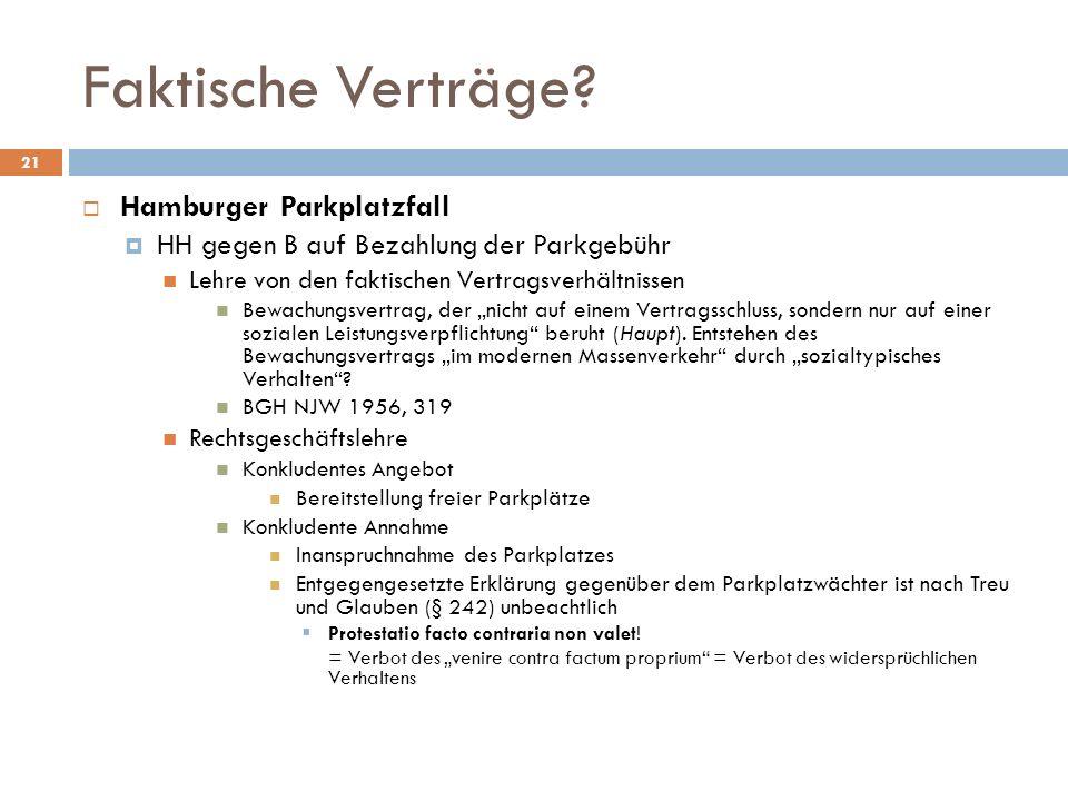 Faktische Verträge Hamburger Parkplatzfall