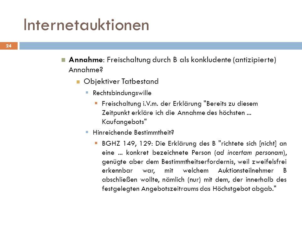 Internetauktionen Annahme: Freischaltung durch B als konkludente (antizipierte) Annahme Objektiver Tatbestand.