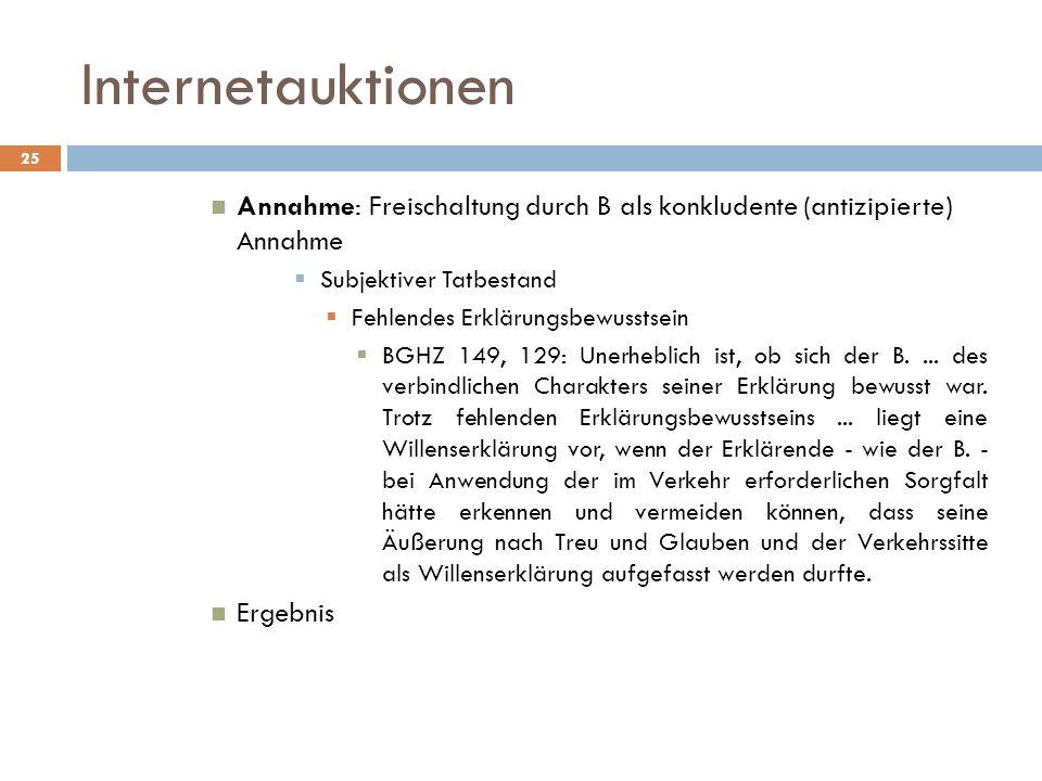 Internetauktionen Annahme: Freischaltung durch B als konkludente (antizipierte) Annahme. Subjektiver Tatbestand.