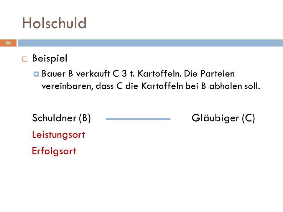 Holschuld Beispiel Schuldner (B) Gläubiger (C) Leistungsort Erfolgsort