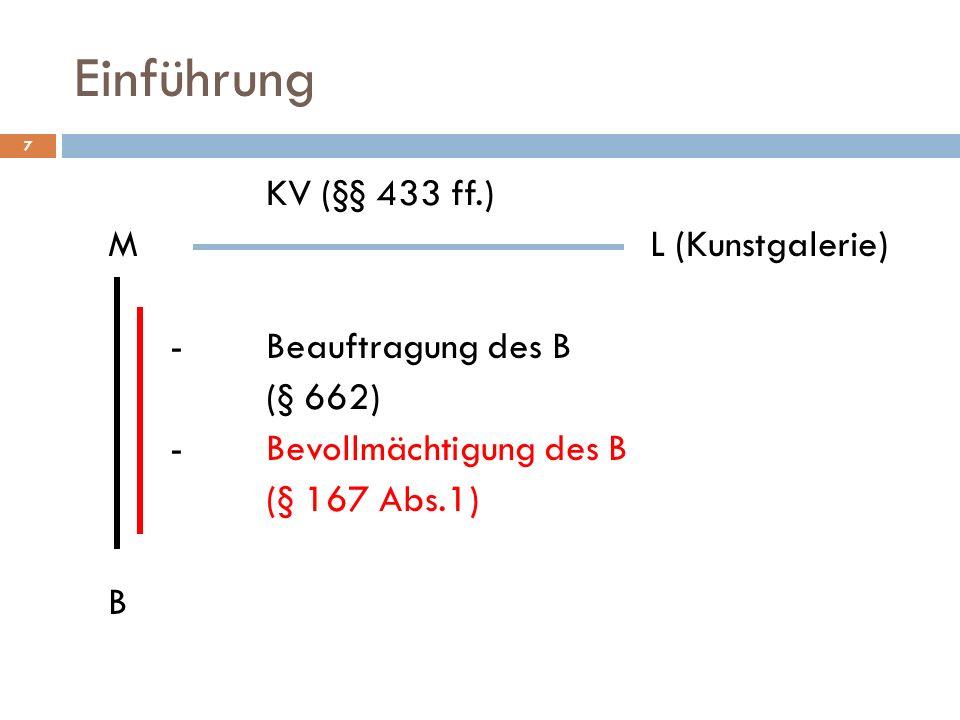 Einführung KV (§§ 433 ff.) M L (Kunstgalerie) - Beauftragung des B