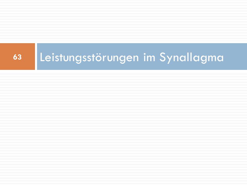 Leistungsstörungen im Synallagma