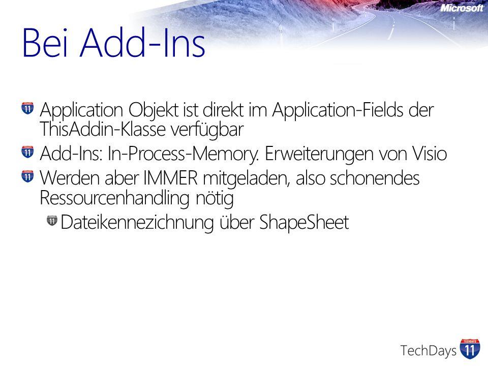 Bei Add-Ins Application Objekt ist direkt im Application-Fields der ThisAddin-Klasse verfügbar. Add-Ins: In-Process-Memory. Erweiterungen von Visio.