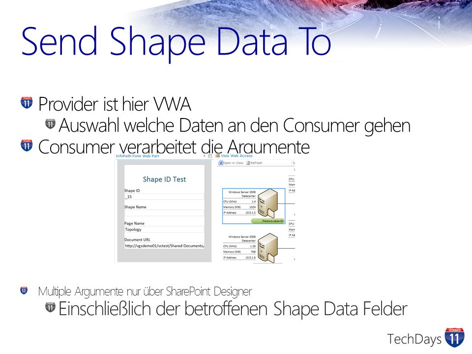 Send Shape Data To Provider ist hier VWA