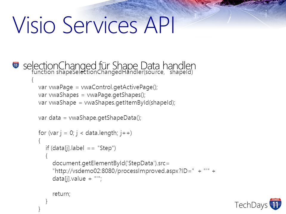 Visio Services API selectionChanged für Shape Data handlen