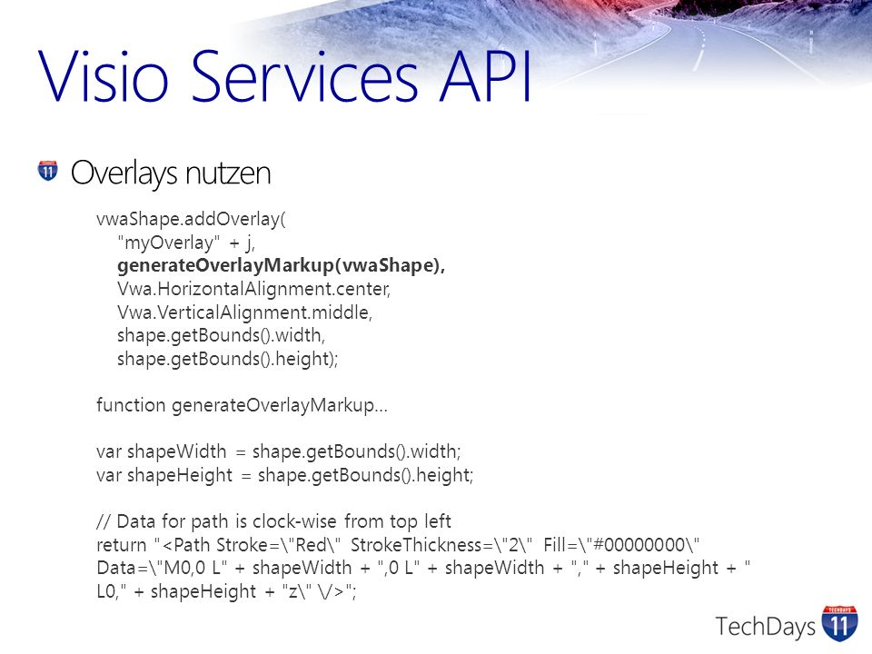 Visio Services API Overlays nutzen vwaShape.addOverlay(