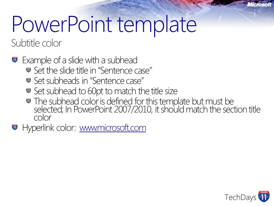 PowerPoint template Subtitle color