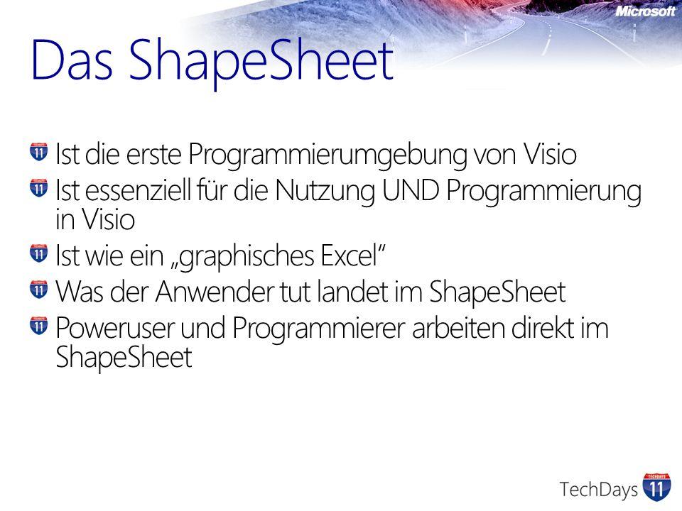 Das ShapeSheet Ist die erste Programmierumgebung von Visio