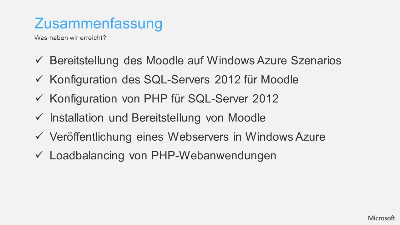 Zusammenfassung Bereitstellung des Moodle auf Windows Azure Szenarios