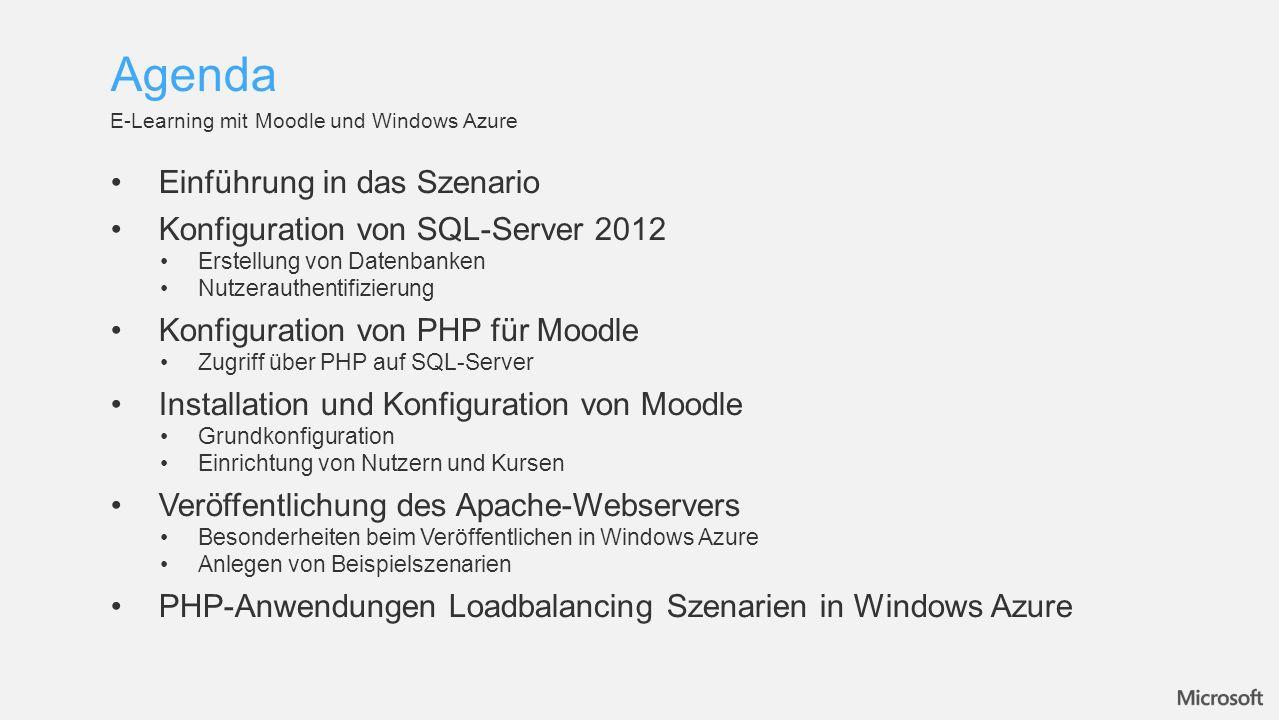 Agenda Einführung in das Szenario Konfiguration von SQL-Server 2012