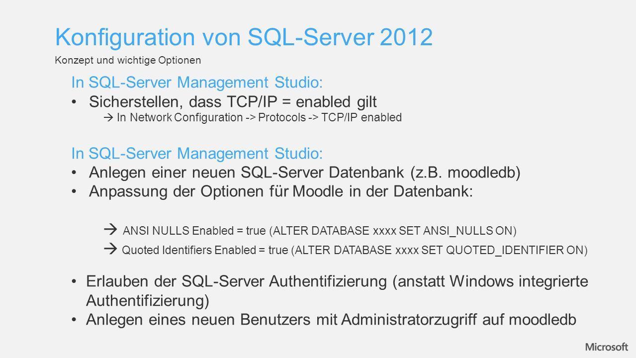 Konfiguration von SQL-Server 2012
