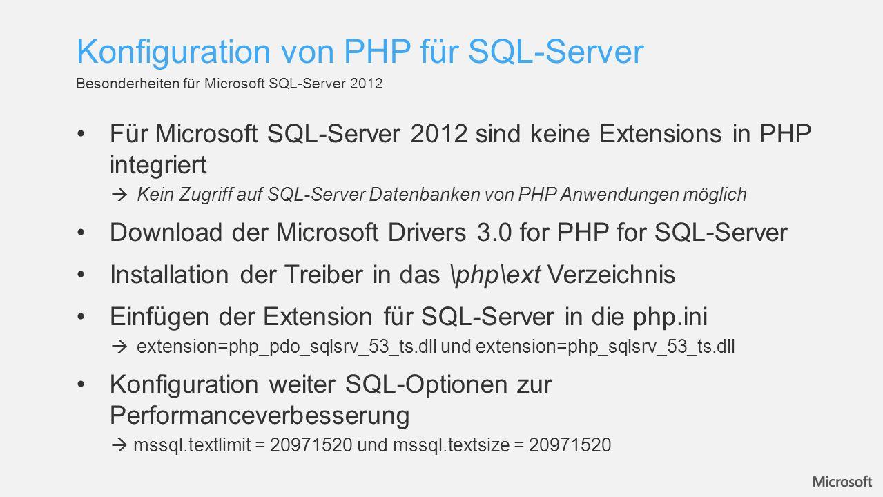 Konfiguration von PHP für SQL-Server