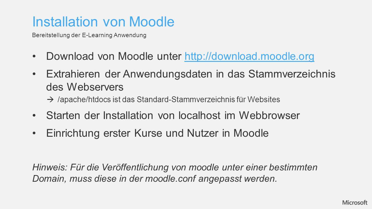 Installation von Moodle