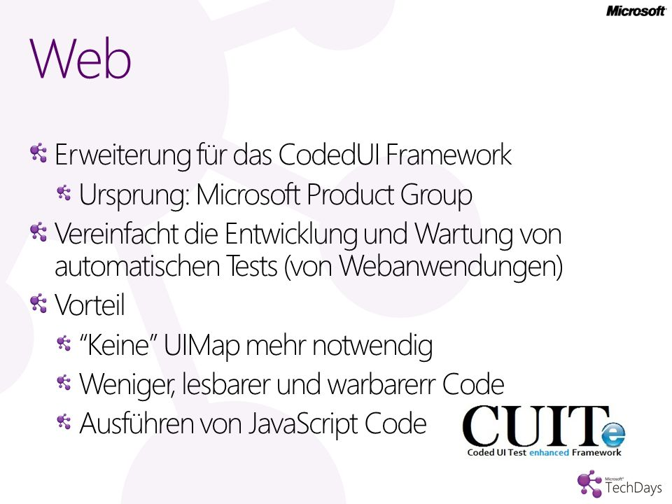 Web Erweiterung für das CodedUI Framework