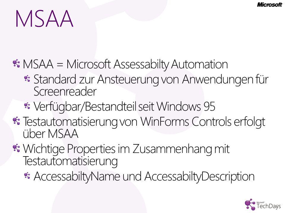 MSAA MSAA = Microsoft Assessabilty Automation