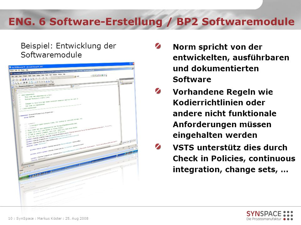 ENG. 6 Software-Erstellung / BP2 Softwaremodule