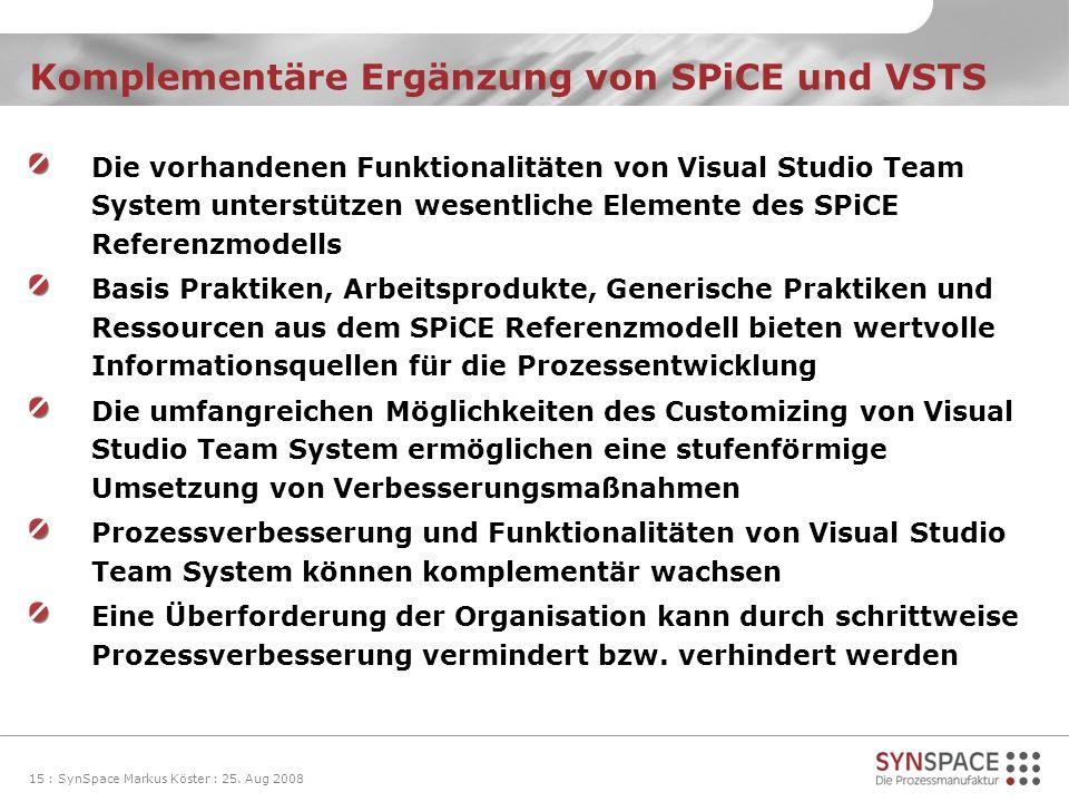 Komplementäre Ergänzung von SPiCE und VSTS