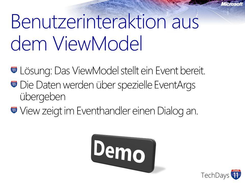 Benutzerinteraktion aus dem ViewModel