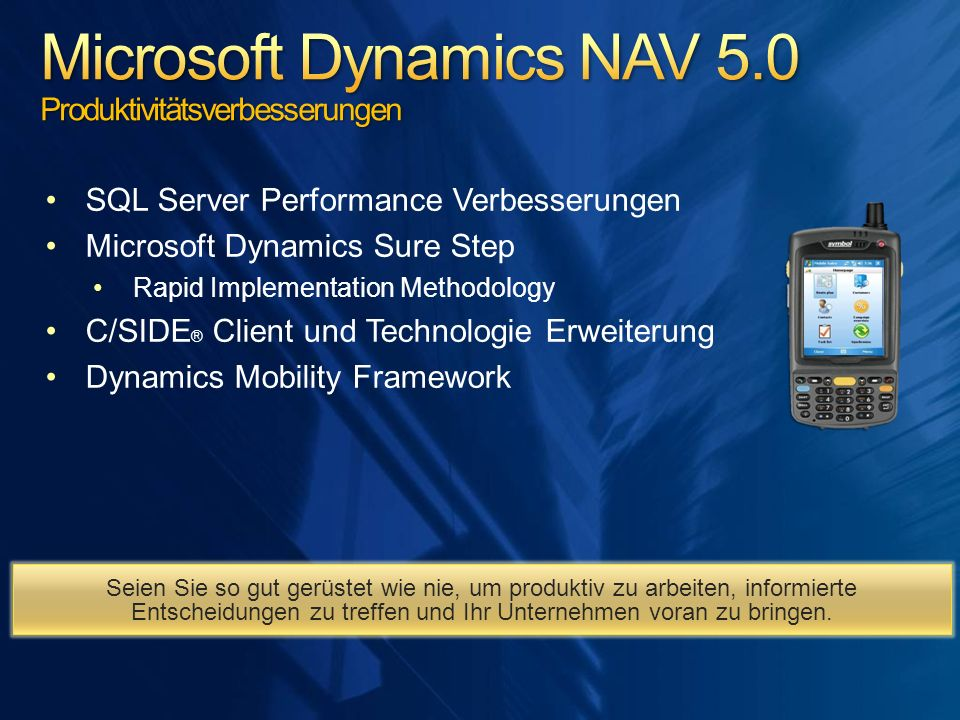 Microsoft Dynamics NAV 5.0 Produktivitätsverbesserungen