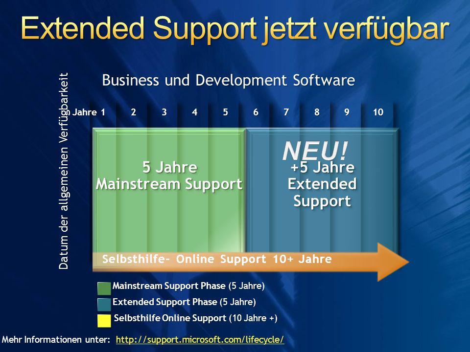 Extended Support jetzt verfügbar