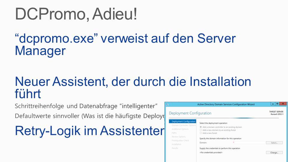 DCPromo, Adieu! dcpromo.exe verweist auf den Server Manager