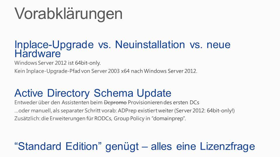 Vorabklärungen Inplace-Upgrade vs. Neuinstallation vs. neue Hardware