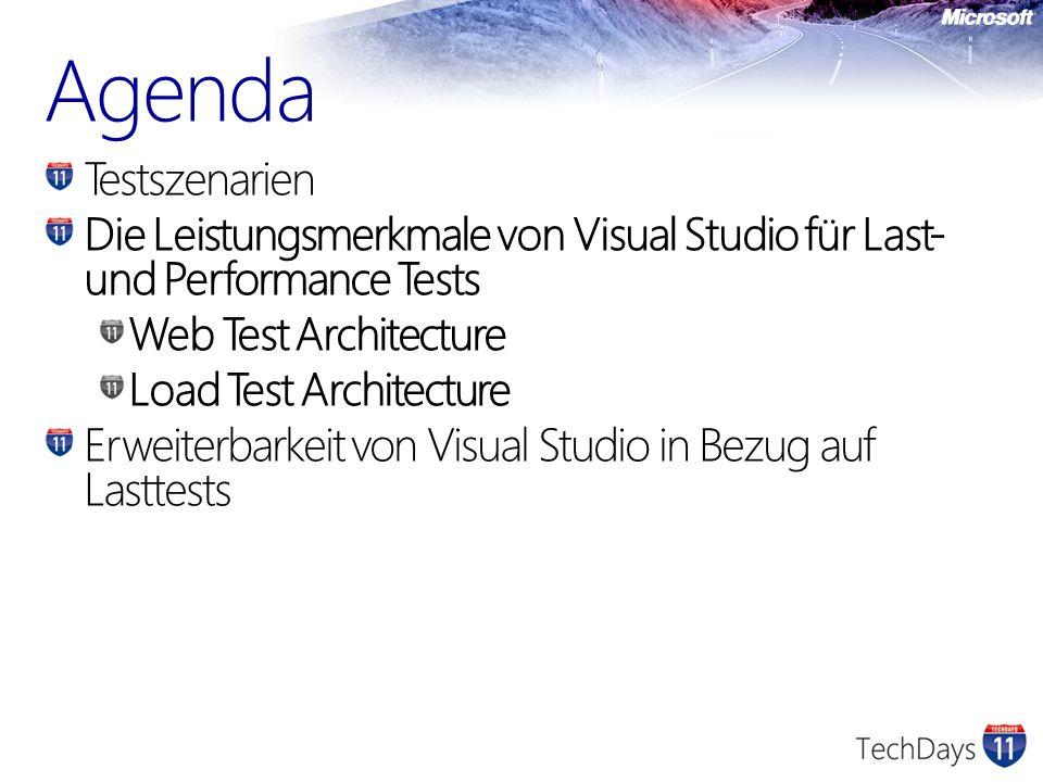 Agenda Testszenarien. Die Leistungsmerkmale von Visual Studio für Last- und Performance Tests. Web Test Architecture.