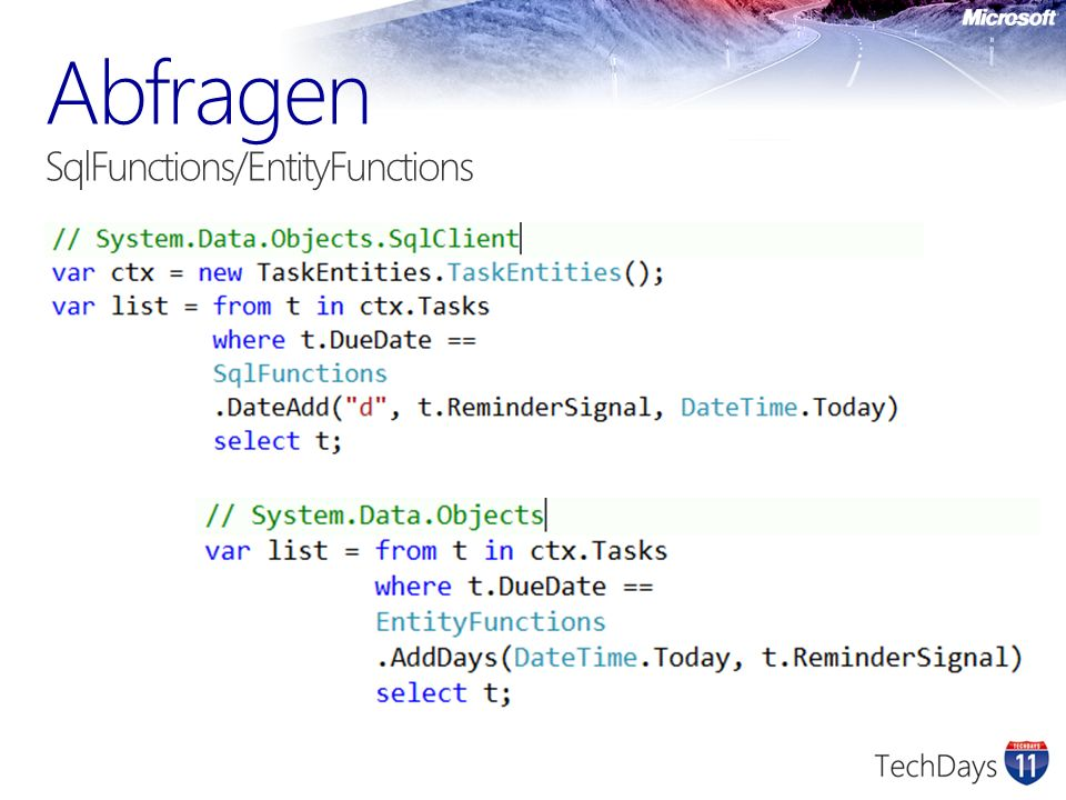 Abfragen SqlFunctions/EntityFunctions