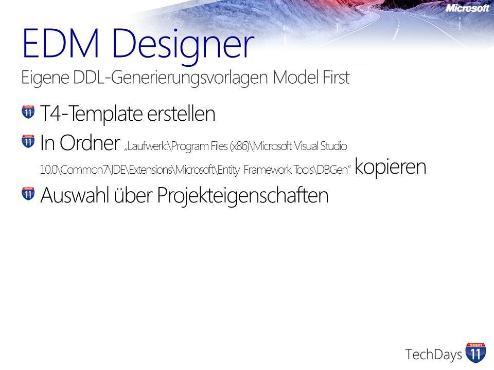 EDM Designer Eigene DDL-Generierungsvorlagen Model First