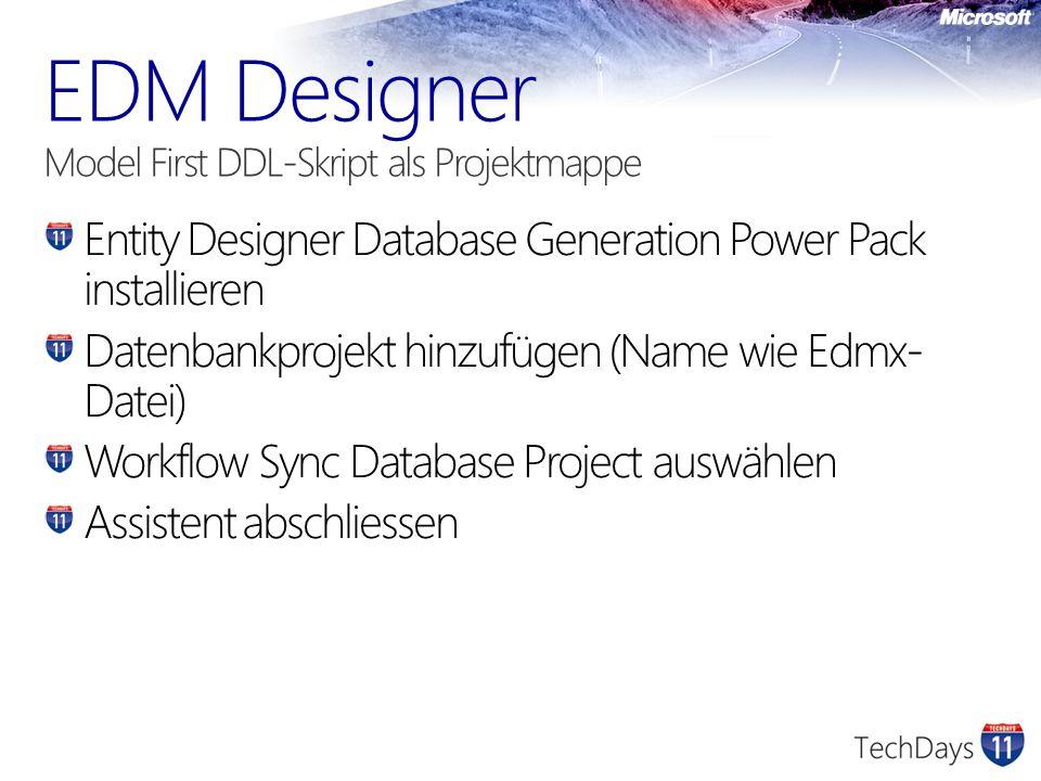 EDM Designer Model First DDL-Skript als Projektmappe