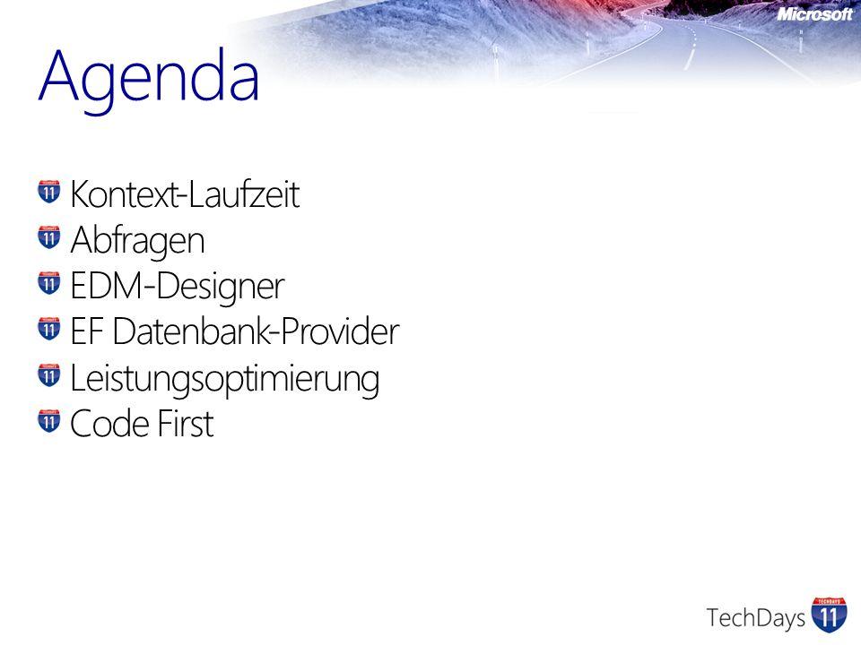 Agenda Kontext-Laufzeit Abfragen EDM-Designer EF Datenbank-Provider