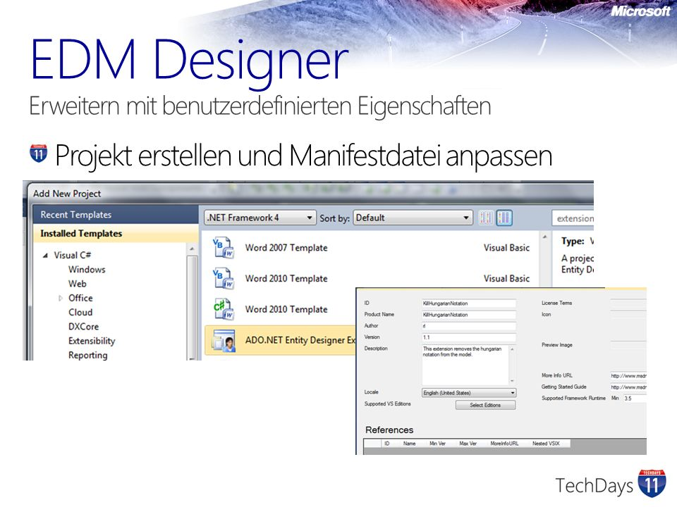 EDM Designer Erweitern mit benutzerdefinierten Eigenschaften