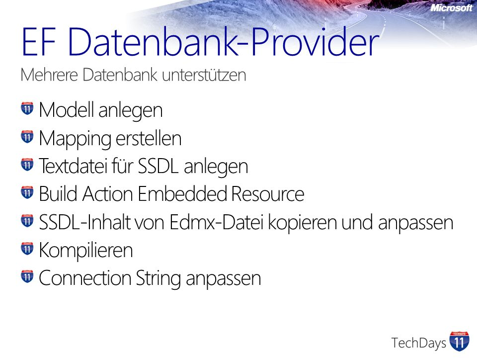 EF Datenbank-Provider Mehrere Datenbank unterstützen