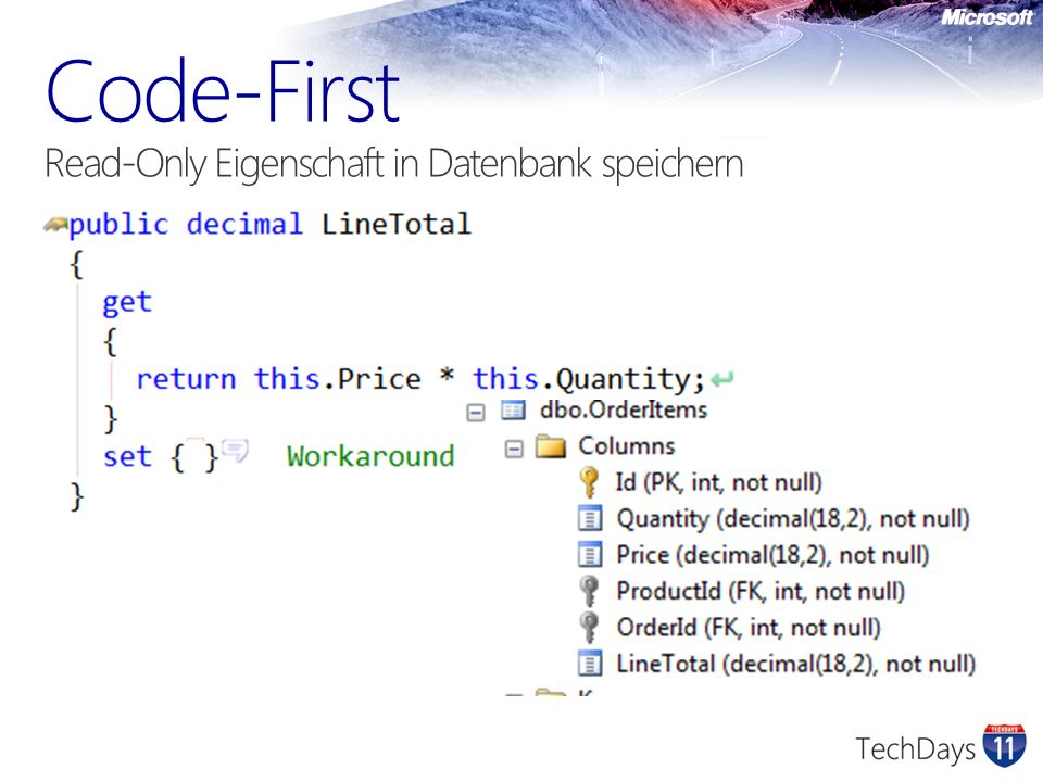 Code-First Read-Only Eigenschaft in Datenbank speichern