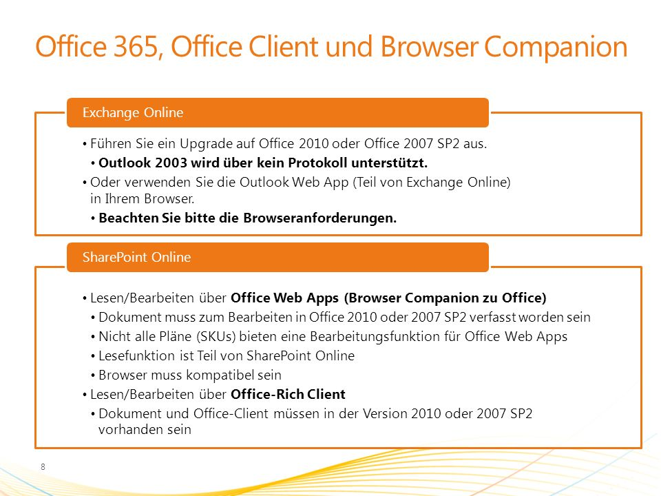 Office 365, Office Client und Browser Companion