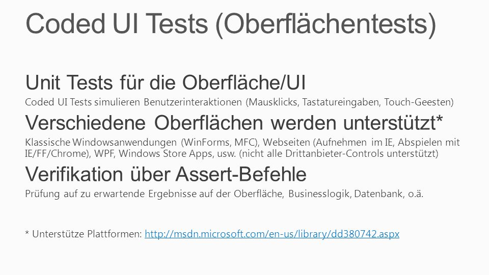 Coded UI Tests (Oberflächentests)