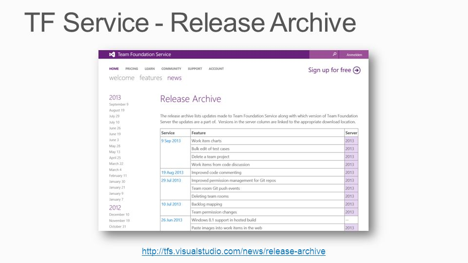 TF Service - Release Archive