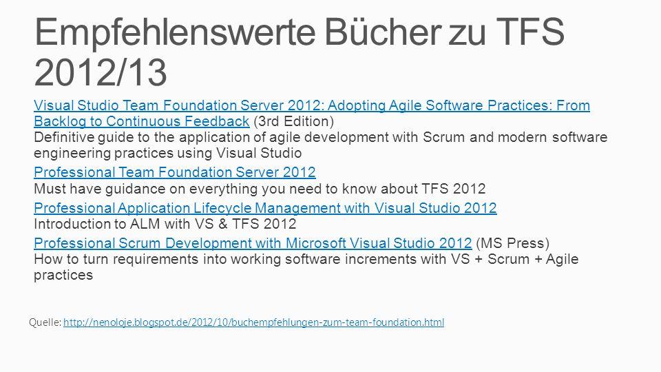 Empfehlenswerte Bücher zu TFS 2012/13