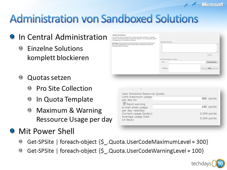 Administration von Sandboxed Solutions