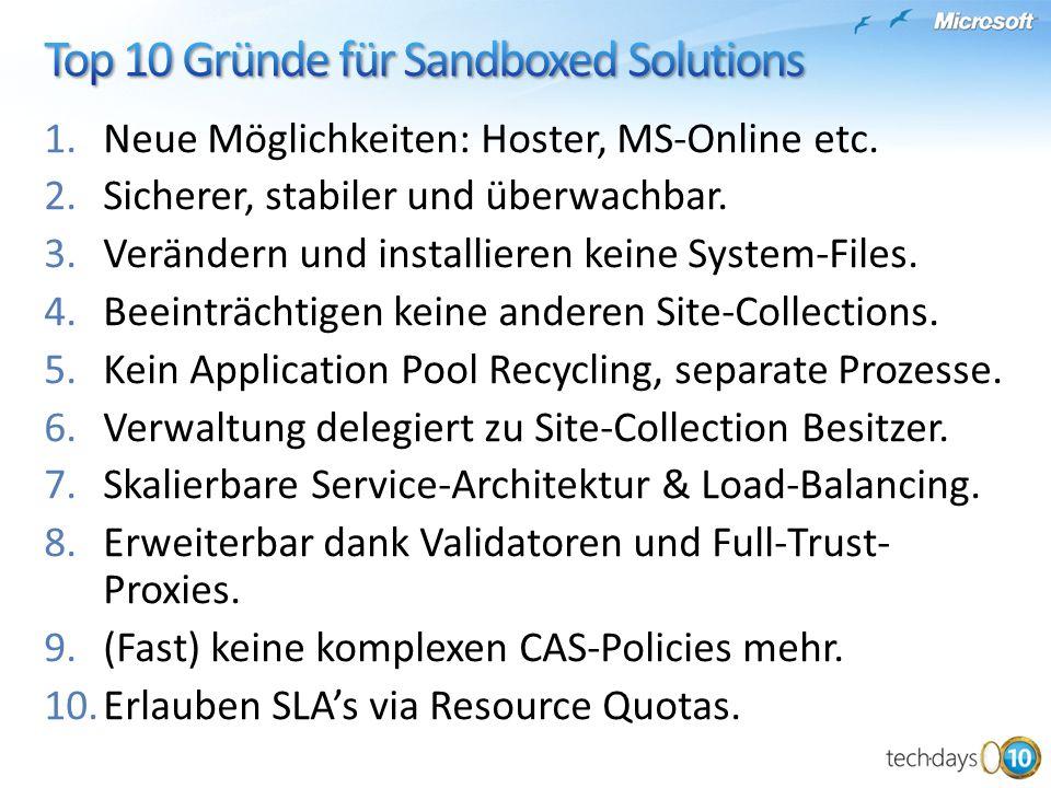 Top 10 Gründe für Sandboxed Solutions