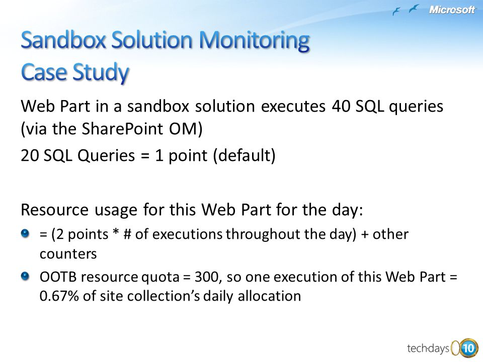 Sandbox Solution Monitoring Case Study