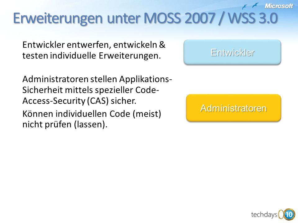Erweiterungen unter MOSS 2007 / WSS 3.0