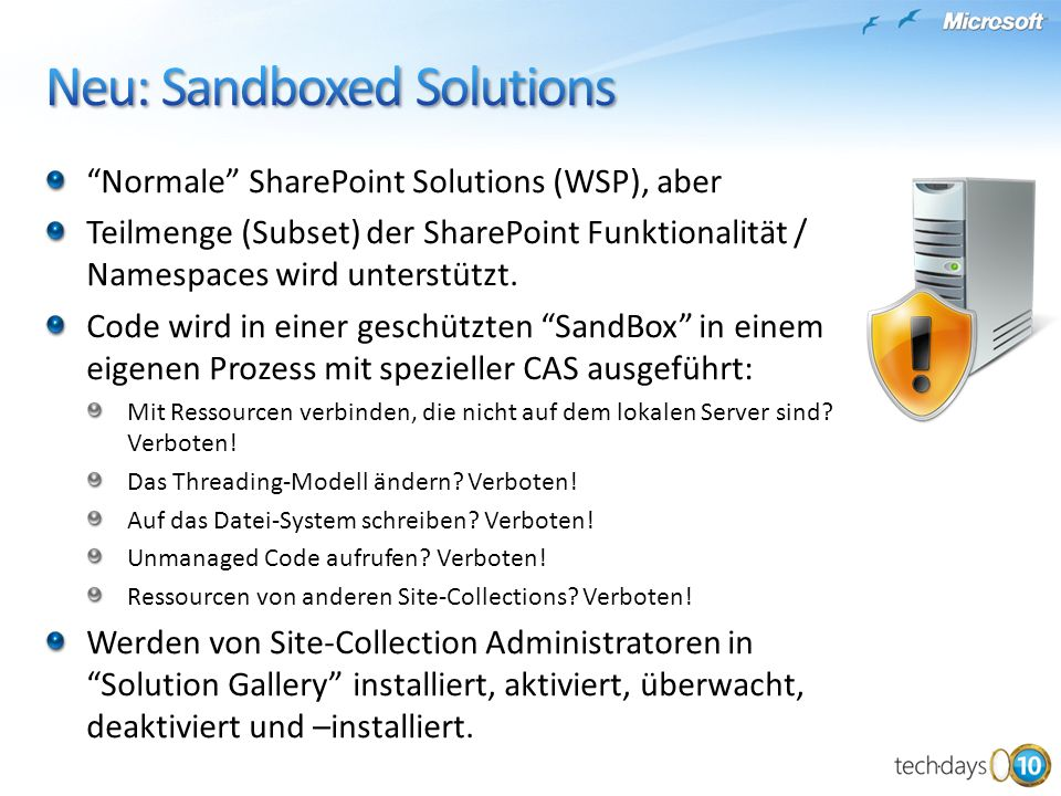 Neu: Sandboxed Solutions
