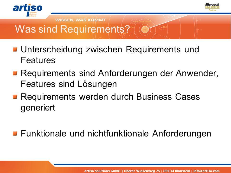 Was sind Requirements Unterscheidung zwischen Requirements und Features. Requirements sind Anforderungen der Anwender, Features sind Lösungen.